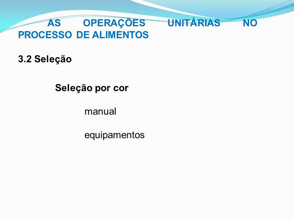 3.2 Seleção AS OPERAÇÕES UNITÁRIAS NO PROCESSO DE ALIMENTOS Seleção por cor manual equipamentos