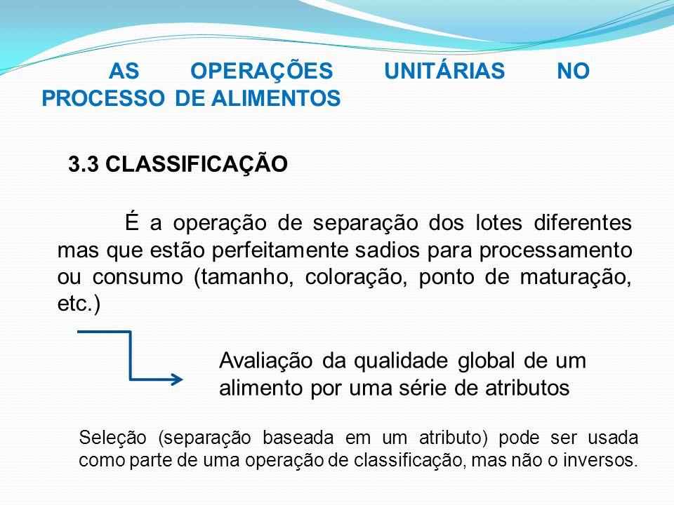 AS OPERAÇÕES UNITÁRIAS NO PROCESSO DE ALIMENTOS 3.3 CLASSIFICAÇÃO É a operação de separação dos lotes diferentes mas que estão perfeitamente sadios pa
