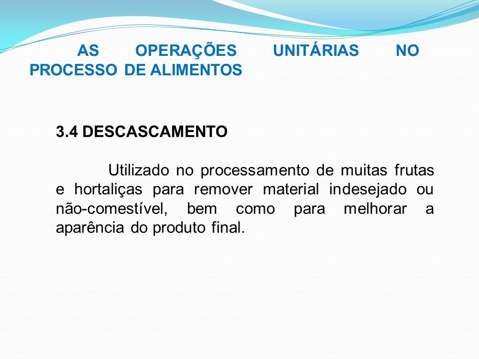 AS OPERAÇÕES UNITÁRIAS NO PROCESSO DE ALIMENTOS 3.4 DESCASCAMENTO Utilizado no processamento de muitas frutas e hortaliças para remover material indes