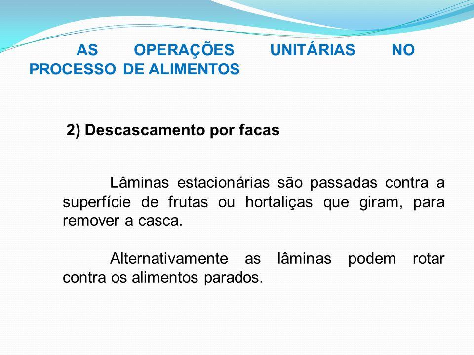 AS OPERAÇÕES UNITÁRIAS NO PROCESSO DE ALIMENTOS 2) Descascamento por facas Lâminas estacionárias são passadas contra a superfície de frutas ou hortali