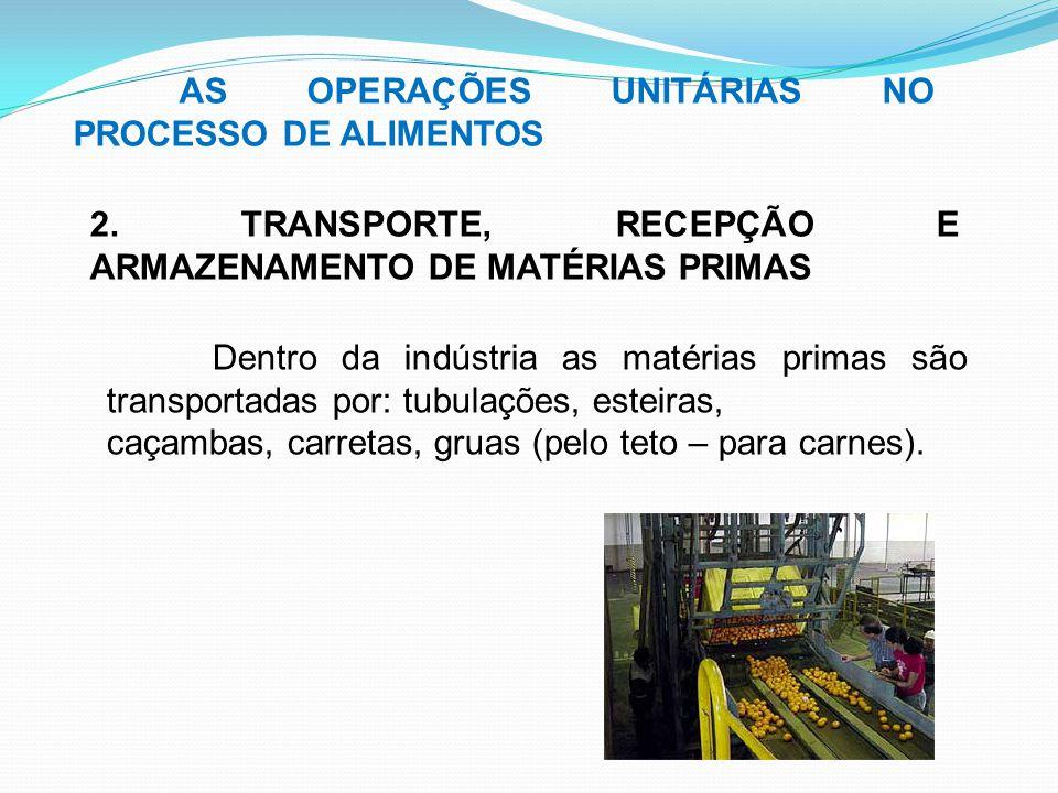 AS OPERAÇÕES UNITÁRIAS NO PROCESSO DE ALIMENTOS 2. TRANSPORTE, RECEPÇÃO E ARMAZENAMENTO DE MATÉRIAS PRIMAS Dentro da indústria as matérias primas são
