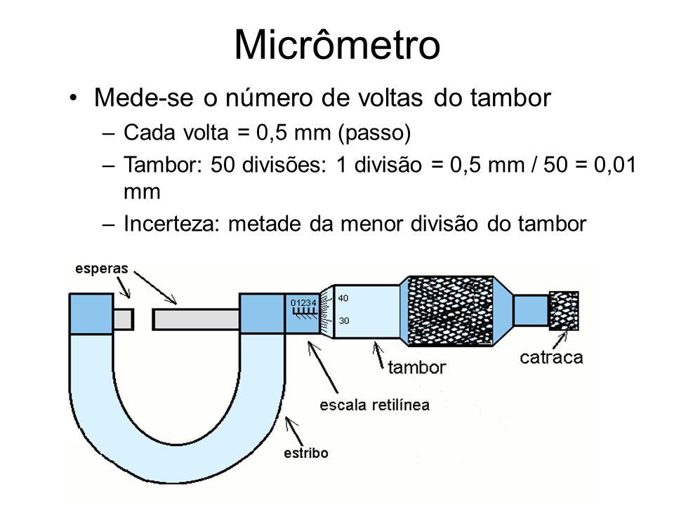Micrômetro Mede-se o número de voltas do tambor –Cada volta = 0,5 mm (passo) –Tambor: 50 divisões: 1 divisão = 0,5 mm / 50 = 0,01 mm –Incerteza: metad