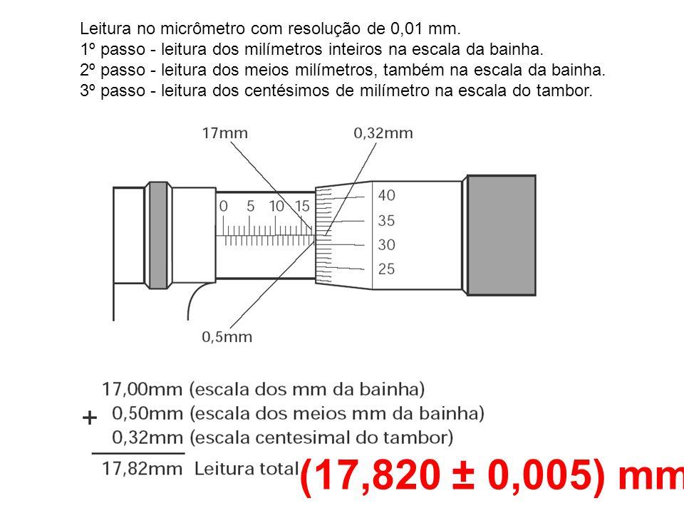 Leitura no micrômetro com resolução de 0,01 mm. 1º passo - leitura dos milímetros inteiros na escala da bainha. 2º passo - leitura dos meios milímetro