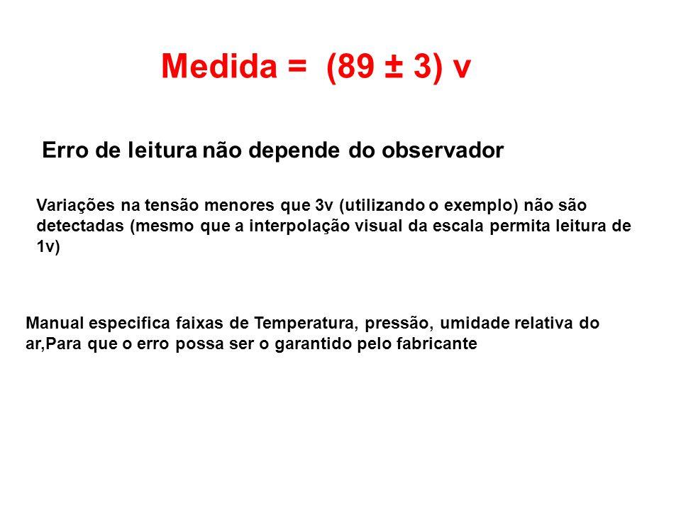 Medida = (89 ± 3) v Erro de leitura não depende do observador Variações na tensão menores que 3v (utilizando o exemplo) não são detectadas (mesmo que