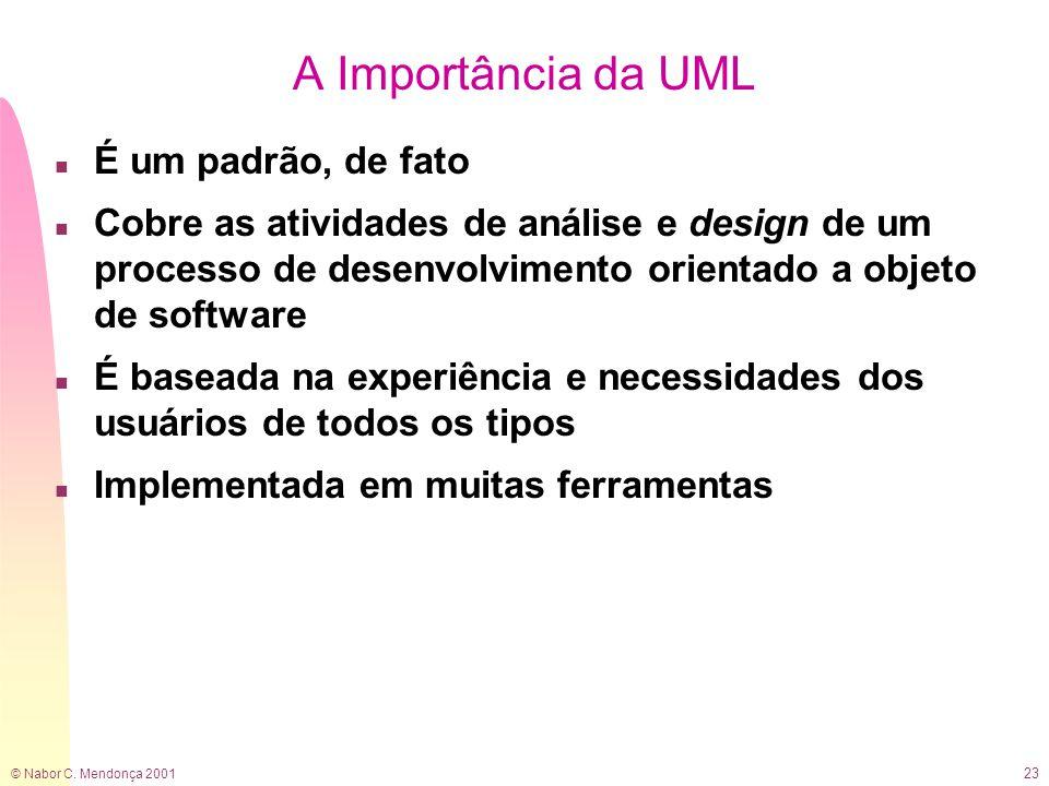© Nabor C. Mendonça 2001 23 A Importância da UML n É um padrão, de fato n Cobre as atividades de análise e design de um processo de desenvolvimento or