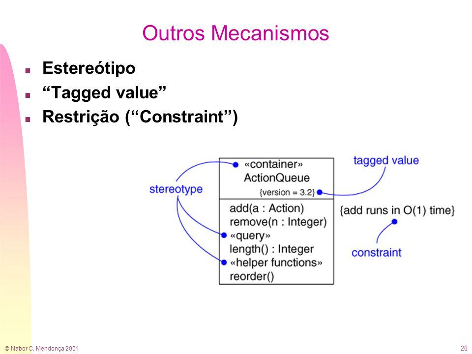 """© Nabor C. Mendonça 2001 26 Outros Mecanismos n Estereótipo n """"Tagged value"""" n Restrição (""""Constraint"""")"""