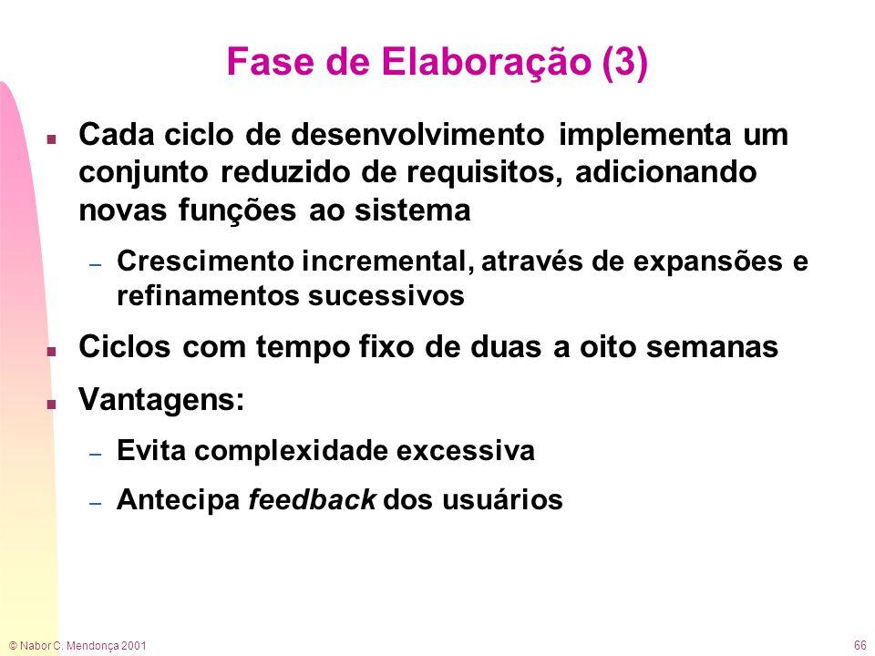 © Nabor C. Mendonça 2001 66 Fase de Elaboração (3) n Cada ciclo de desenvolvimento implementa um conjunto reduzido de requisitos, adicionando novas fu