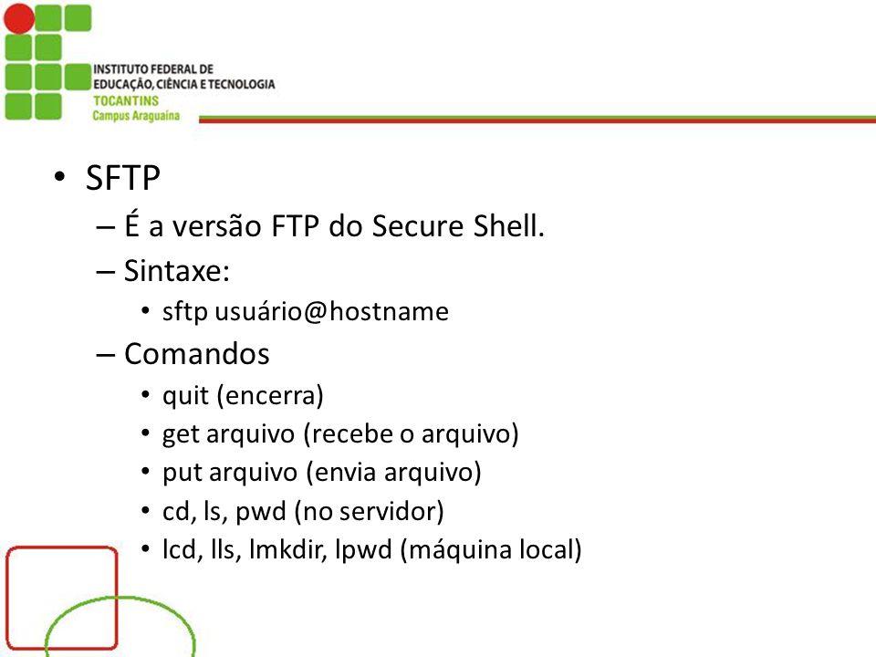 SFTP – É a versão FTP do Secure Shell.
