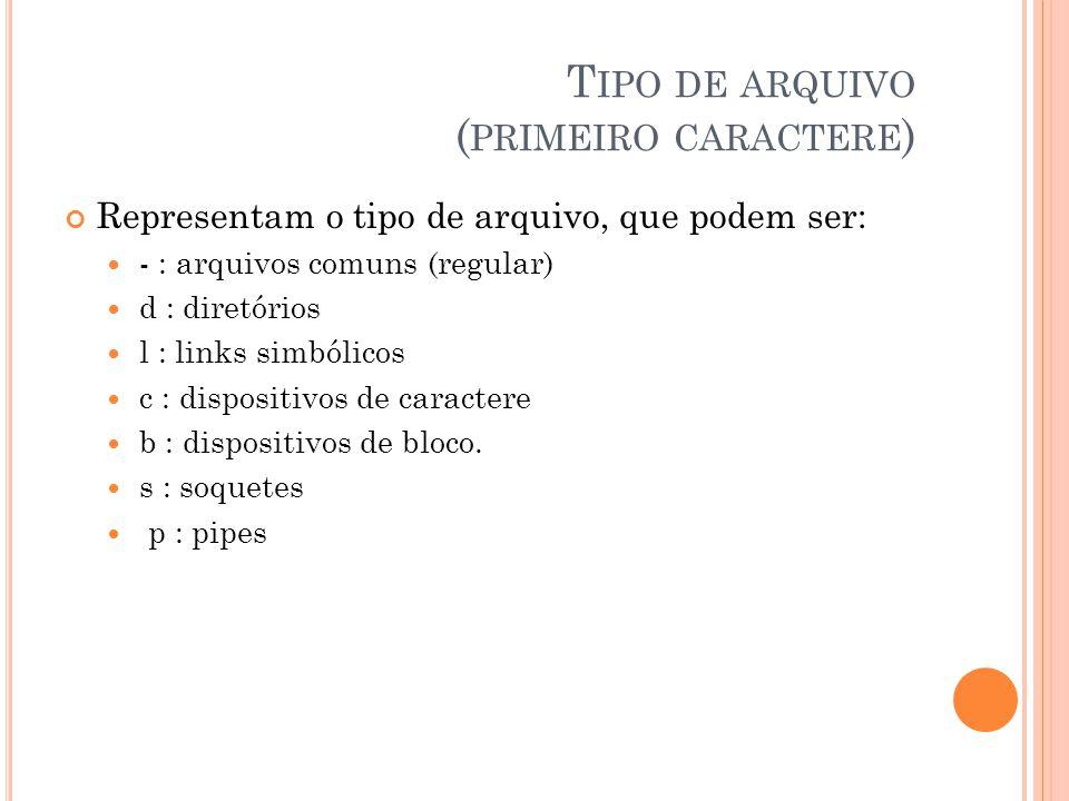 T IPO DE ARQUIVO ( PRIMEIRO CARACTERE ) Representam o tipo de arquivo, que podem ser: - : arquivos comuns (regular) d : diretórios l : links simbólicos c : dispositivos de caractere b : dispositivos de bloco.