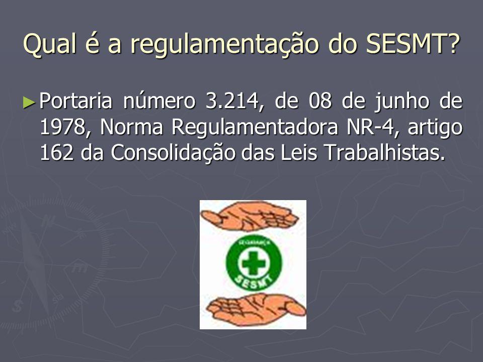 Qual o objetivo do SESMT? ► Promover a saúde e proteger a integridade no local de trabalho.