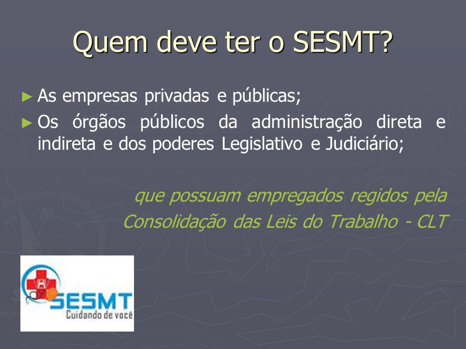 Quem compõe o SESMT.