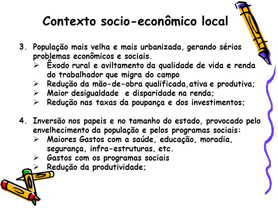 Contexto socio-econômico local 3.População mais velha e mais urbanizada, gerando sérios problemas econômicos e sociais.  Êxodo rural e aviltamento da