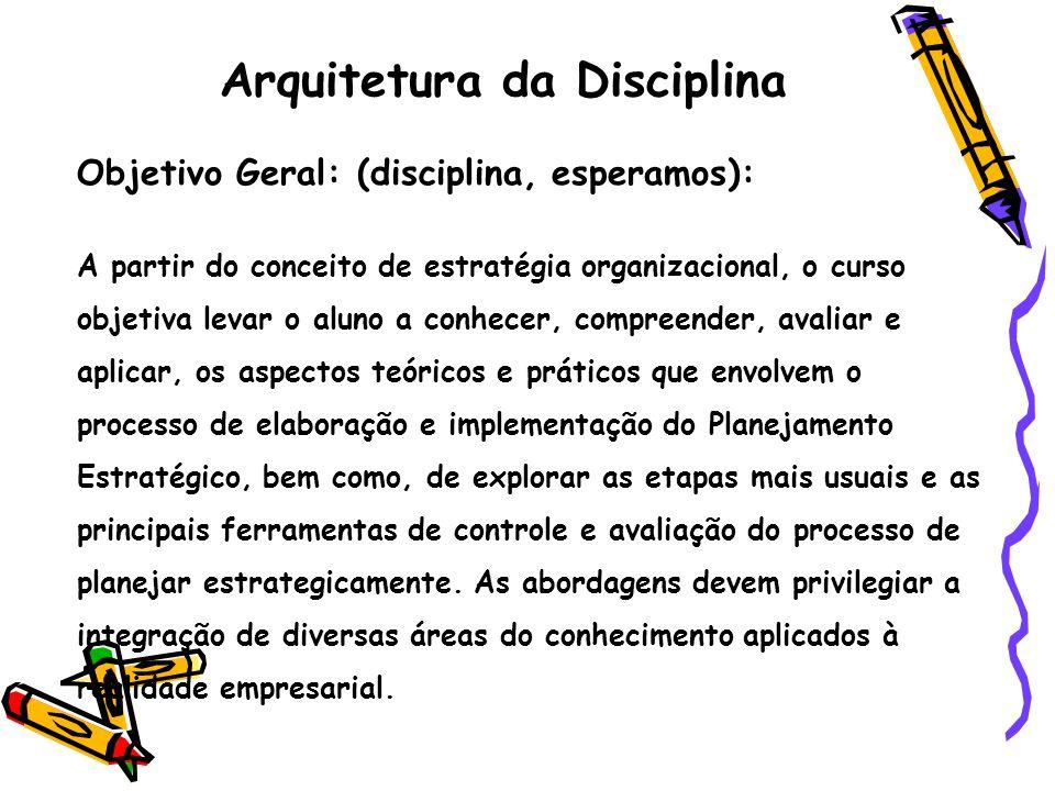 Arquitetura da Disciplina Objetivo Geral: (disciplina, esperamos): A partir do conceito de estratégia organizacional, o curso objetiva levar o aluno a