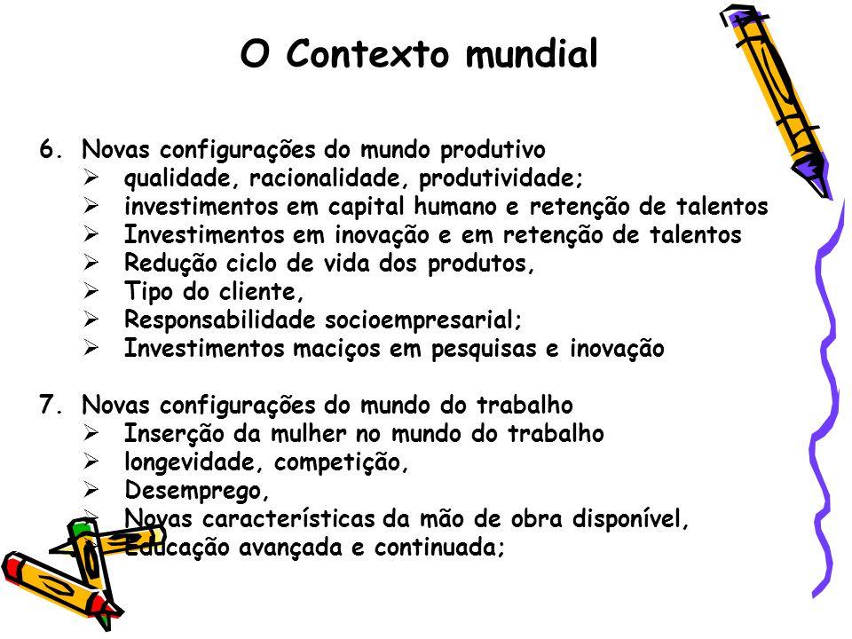 O Contexto mundial 6.Novas configurações do mundo produtivo  qualidade, racionalidade, produtividade;  investimentos em capital humano e retenção de