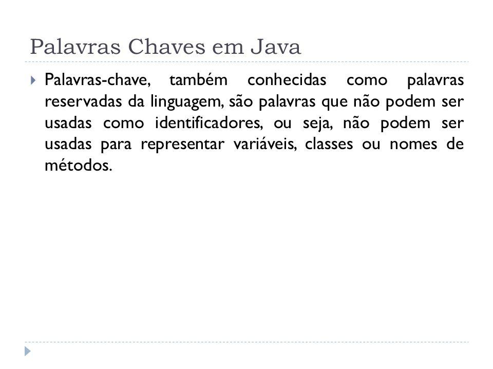 Palavras Chaves em Java  Palavras-chave, também conhecidas como palavras reservadas da linguagem, são palavras que não podem ser usadas como identifi