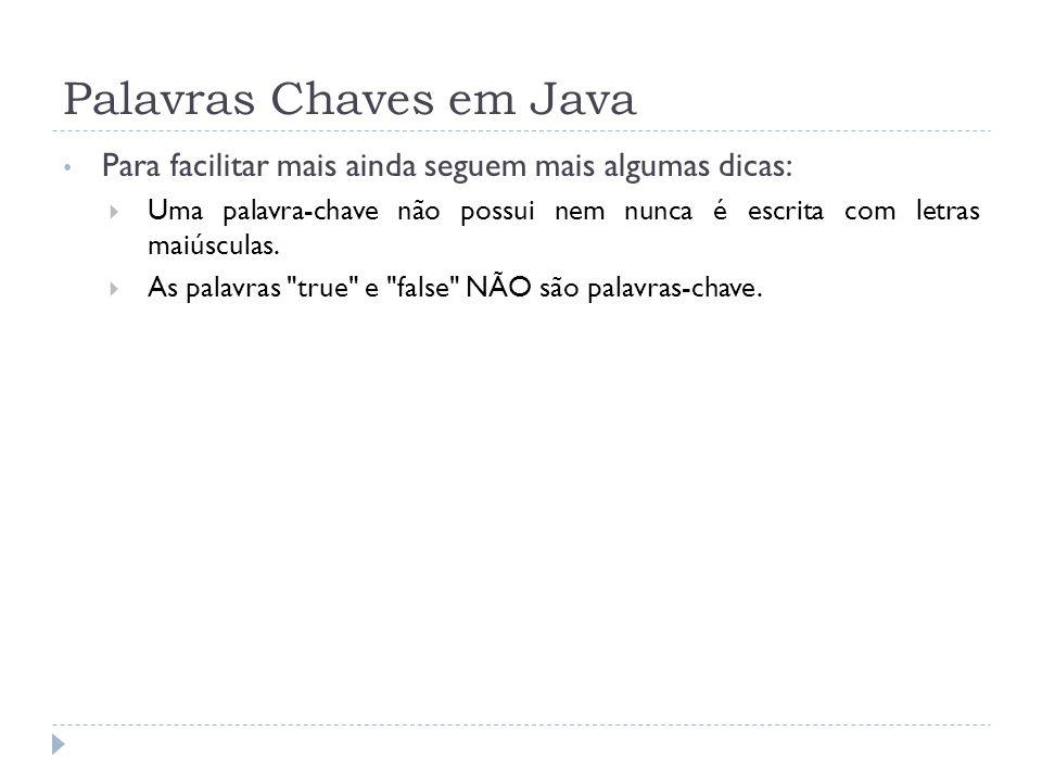 Palavras Chaves em Java Para facilitar mais ainda seguem mais algumas dicas:  Uma palavra-chave não possui nem nunca é escrita com letras maiúsculas.