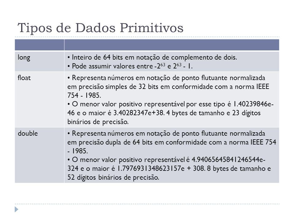 Tipos de Dados Primitivos long Inteiro de 64 bits em notação de complemento de dois. Pode assumir valores entre -2 63 e 2 63 - 1. float Representa núm