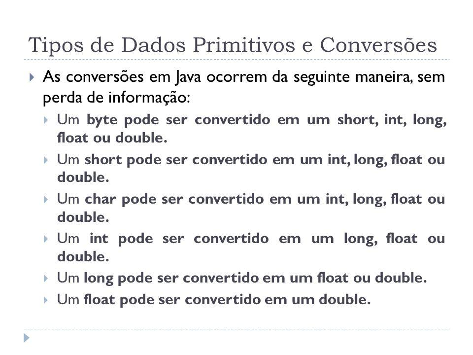 Tipos de Dados Primitivos e Conversões  As conversões em Java ocorrem da seguinte maneira, sem perda de informação:  Um byte pode ser convertido em