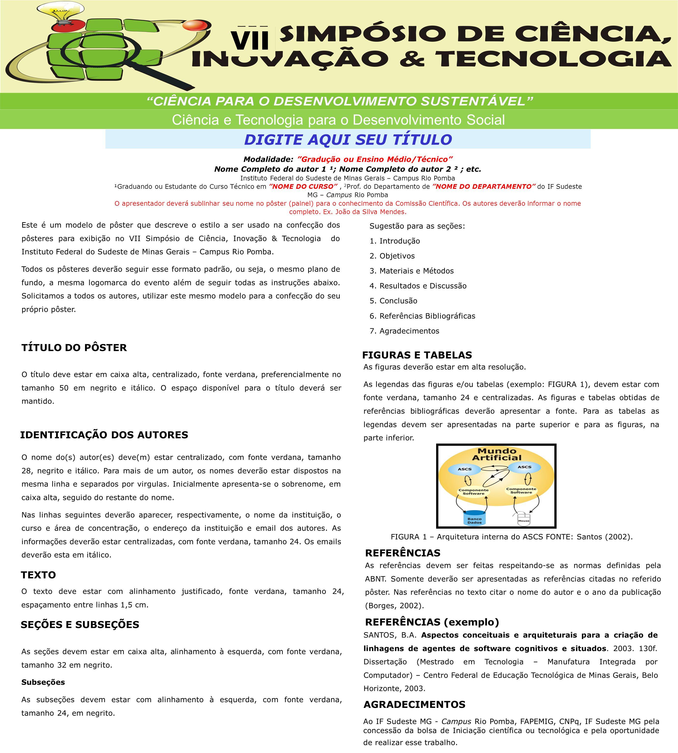 Ciência e Tecnologia para o Desenvolvimento Social VII DIGITE AQUI SEU TÍTULO Modalidade: Gradução ou Ensino Médio/Técnico Nome Completo do autor 1 ¹; Nome Completo do autor 2 ² ; etc.