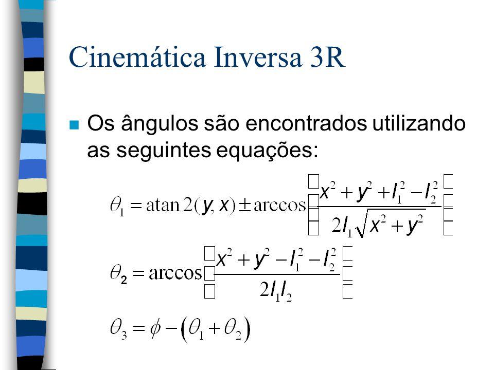 Cinemática Inversa 3R n Os ângulos são encontrados utilizando as seguintes equações: