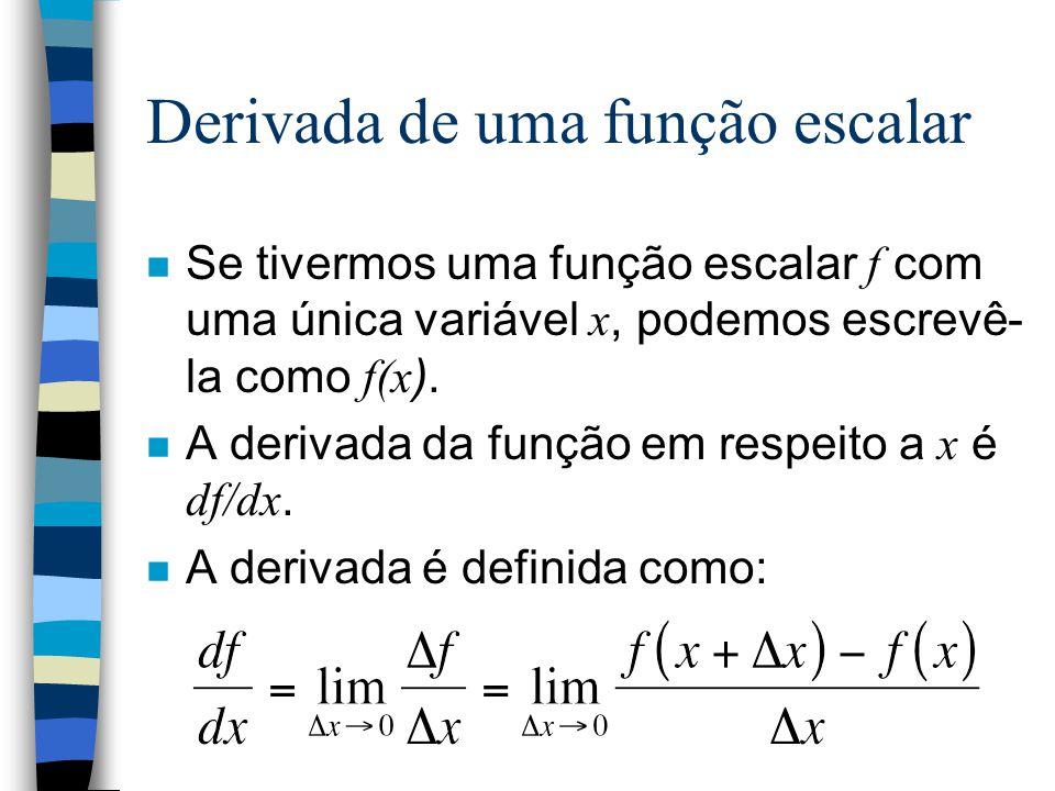Derivada de uma função escalar Se tivermos uma função escalar f com uma única variável x, podemos escrevê- la como f(x ). A derivada da função em resp