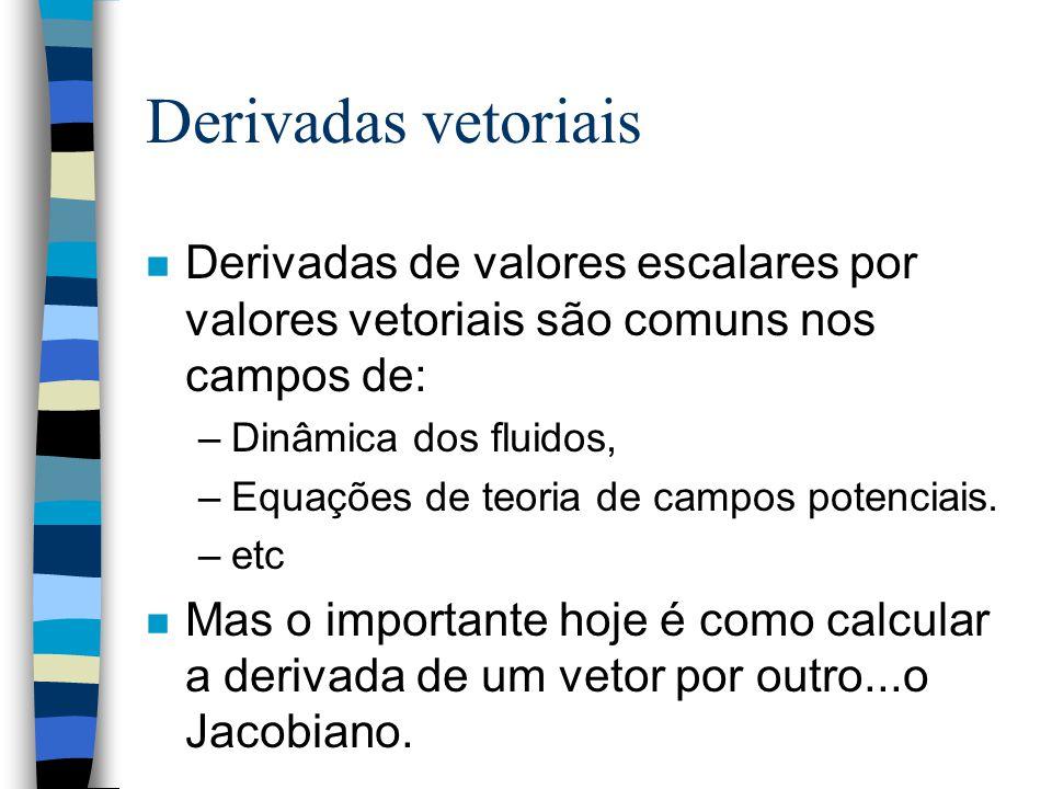 Derivadas vetoriais n Derivadas de valores escalares por valores vetoriais são comuns nos campos de: –Dinâmica dos fluidos, –Equações de teoria de campos potenciais.