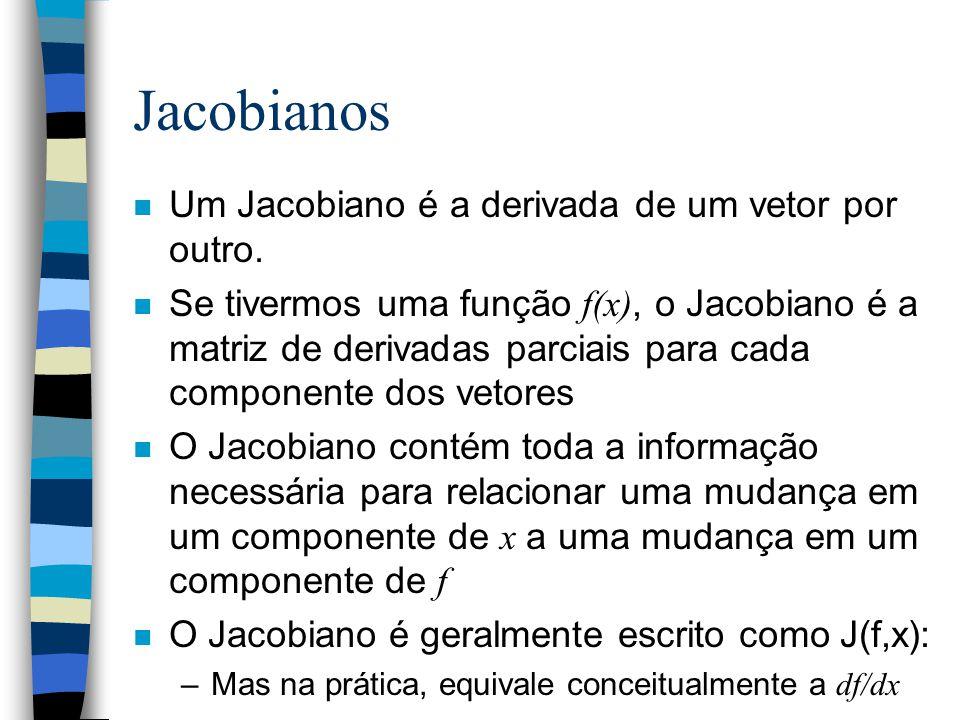 Jacobianos n Um Jacobiano é a derivada de um vetor por outro. Se tivermos uma função f(x), o Jacobiano é a matriz de derivadas parciais para cada comp