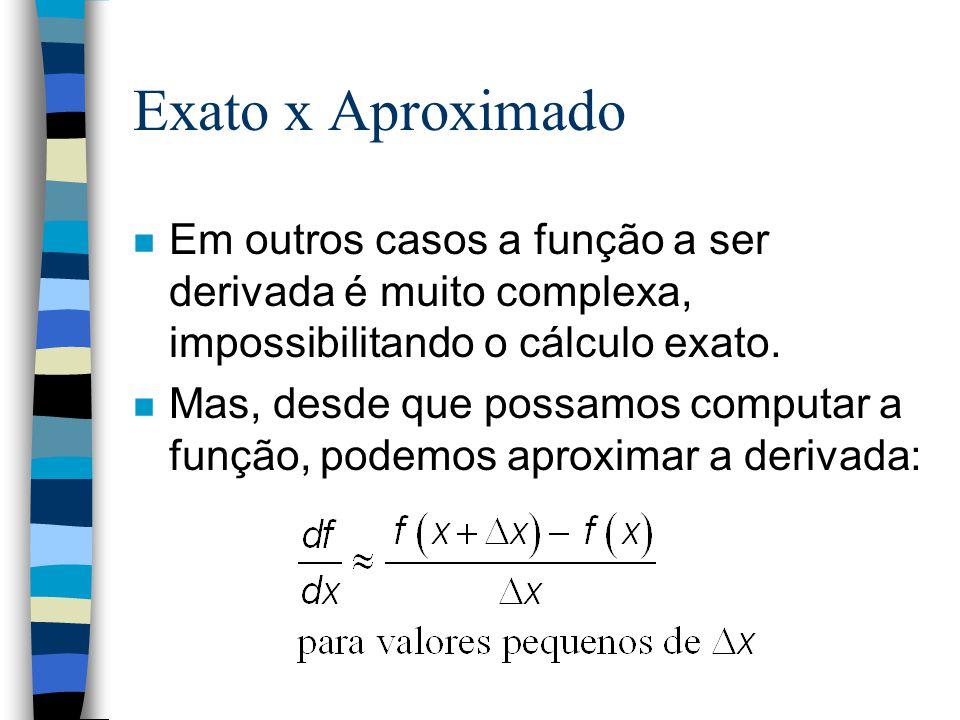 Exato x Aproximado n Em outros casos a função a ser derivada é muito complexa, impossibilitando o cálculo exato. n Mas, desde que possamos computar a