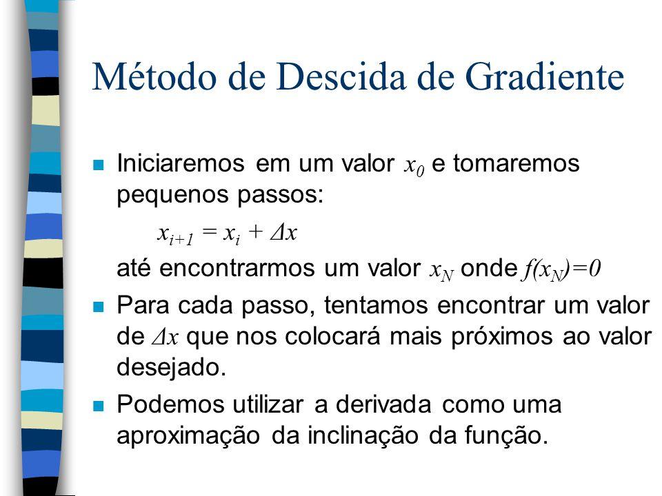 Método de Descida de Gradiente Iniciaremos em um valor x 0 e tomaremos pequenos passos: x i+1 = x i + Δx até encontrarmos um valor x N onde f(x N )=0