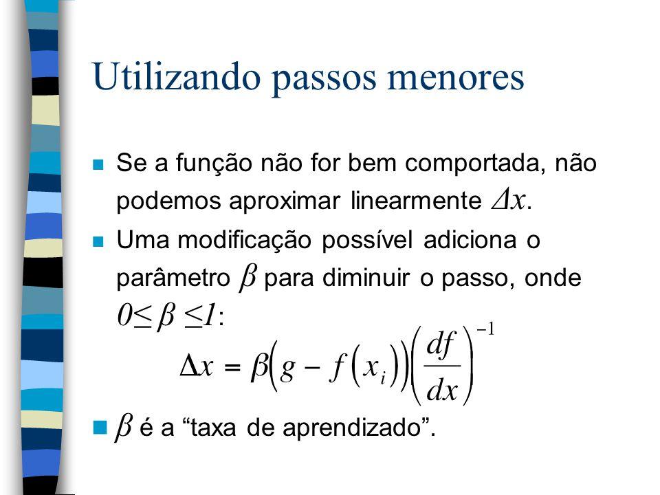 Utilizando passos menores Se a função não for bem comportada, não podemos aproximar linearmente Δx. Uma modificação possível adiciona o parâmetro β pa