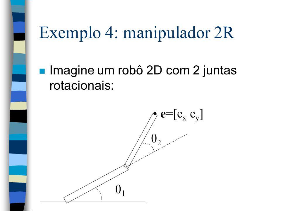 Exemplo 4: manipulador 2R n Imagine um robô 2D com 2 juntas rotacionais: θ1θ1 θ2θ2 e=[e x e y ]