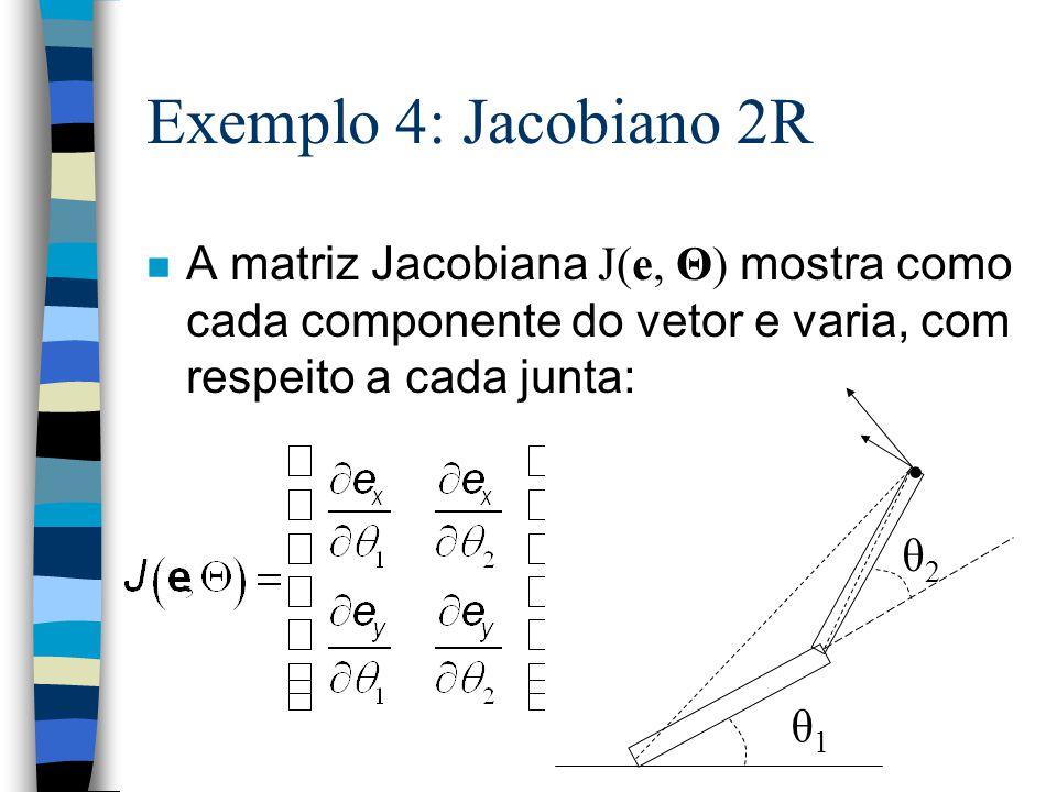 Exemplo 4: Jacobiano 2R A matriz Jacobiana J(e, Θ) mostra como cada componente do vetor e varia, com respeito a cada junta: θ2θ2 θ1θ1