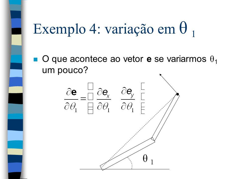 Exemplo 4: variação em θ 1 O que acontece ao vetor e se variarmos θ 1 um pouco? θ 1θ 1