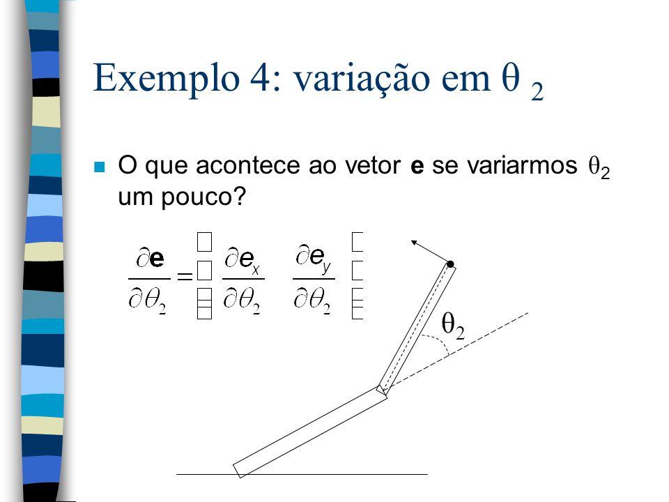 Exemplo 4: variação em θ 2 O que acontece ao vetor e se variarmos θ 2 um pouco? θ2θ2