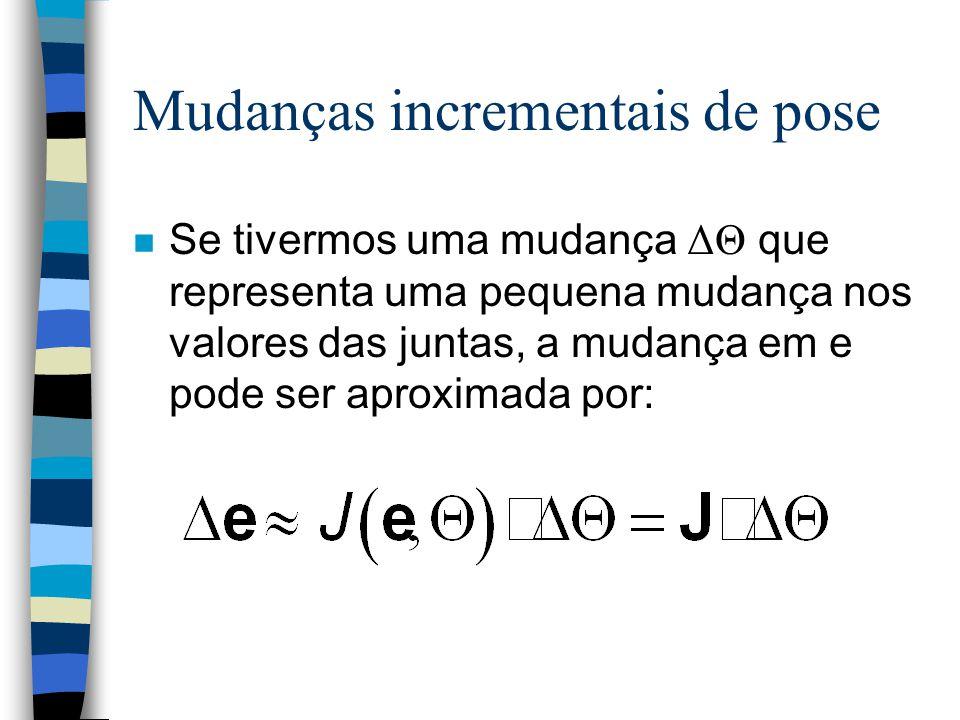 Mudanças incrementais de pose Se tivermos uma mudança ΔΘ que representa uma pequena mudança nos valores das juntas, a mudança em e pode ser aproximada por: