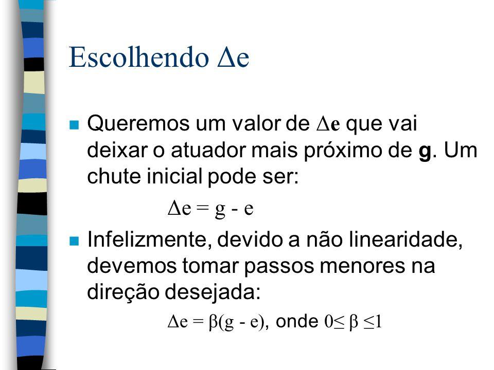 Escolhendo Δe Queremos um valor de Δe que vai deixar o atuador mais próximo de g. Um chute inicial pode ser: Δe = g - e n Infelizmente, devido a não l
