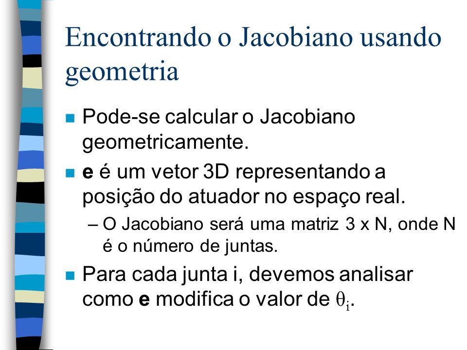 Encontrando o Jacobiano usando geometria n Pode-se calcular o Jacobiano geometricamente. n e é um vetor 3D representando a posição do atuador no espaç