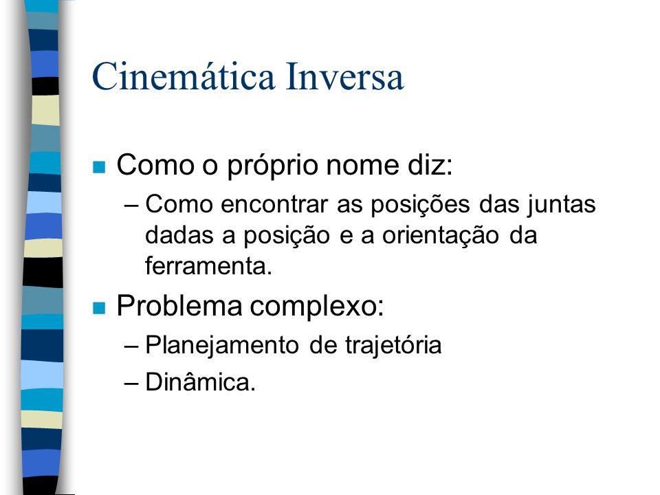 Cinemática Inversa n Como o próprio nome diz: –Como encontrar as posições das juntas dadas a posição e a orientação da ferramenta. n Problema complexo