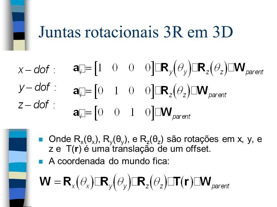 Juntas rotacionais 3R em 3D n Onde R x (θ x ), R y (θ y ), e R z (θ z ) são rotações em x, y, e z e T(r) é uma translação de um offset. n A coordenada