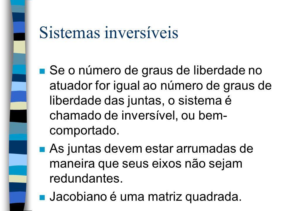 Sistemas inversíveis n Se o número de graus de liberdade no atuador for igual ao número de graus de liberdade das juntas, o sistema é chamado de inversível, ou bem- comportado.