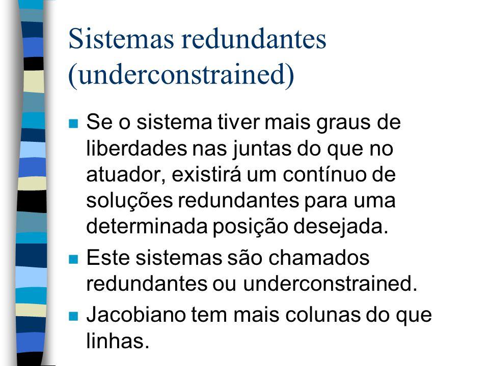 Sistemas redundantes (underconstrained) n Se o sistema tiver mais graus de liberdades nas juntas do que no atuador, existirá um contínuo de soluções redundantes para uma determinada posição desejada.