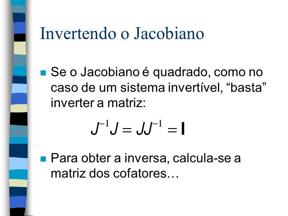 Invertendo o Jacobiano n Se o Jacobiano é quadrado, como no caso de um sistema invertível, basta inverter a matriz: n Para obter a inversa, calcula-se a matriz dos cofatores…