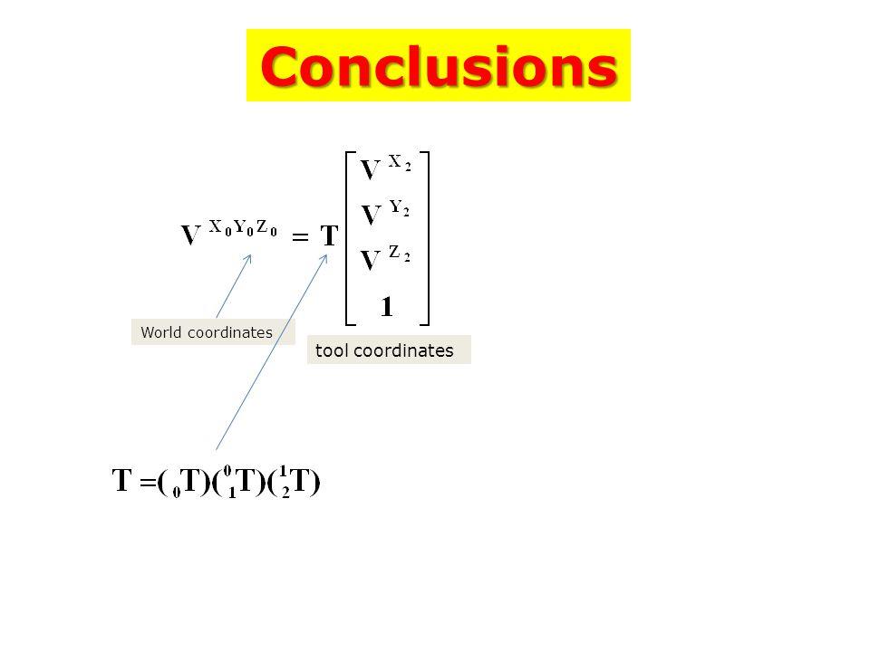 World coordinates tool coordinates Conclusions