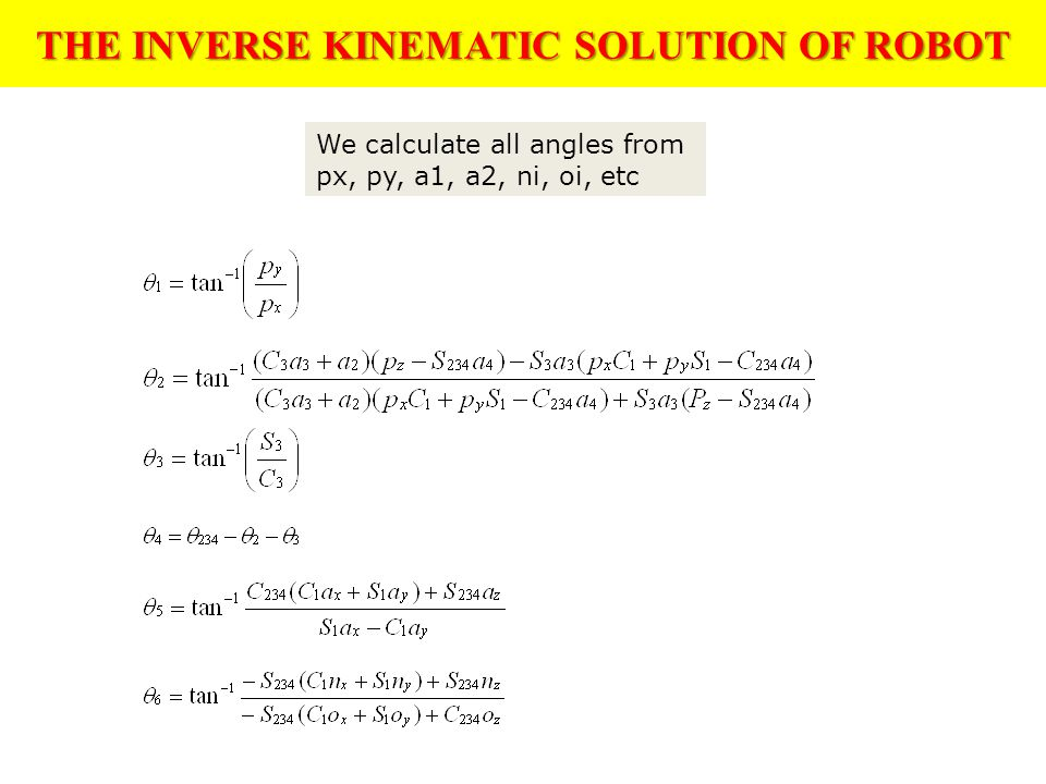 THE INVERSE KINEMATIC SOLUTION OF ROBOT We calculate all angles from px, py, a1, a2, ni, oi, etc