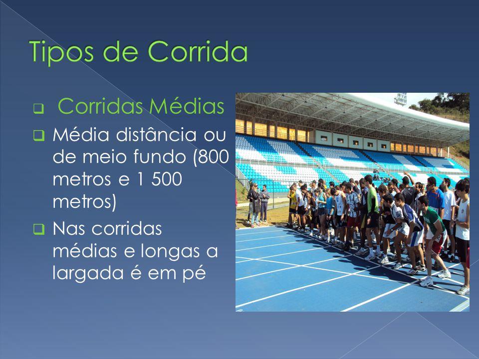  Corridas Médias  Média distância ou de meio fundo (800 metros e 1 500 metros)  Nas corridas médias e longas a largada é em pé
