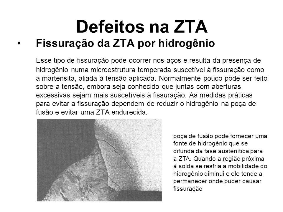 Defeitos na ZTA Fissuração da ZTA por hidrogênio Esse tipo de fissuração pode ocorrer nos aços e resulta da presença de hidrogênio numa microestrutura temperada suscetível à fissuração como a martensita, aliada à tensão aplicada.