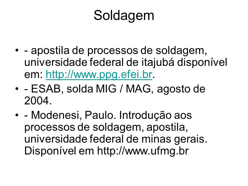 Soldagem - apostila de processos de soldagem, universidade federal de itajubá disponível em: http://www.ppg.efei.br.http://www.ppg.efei.br - ESAB, sol