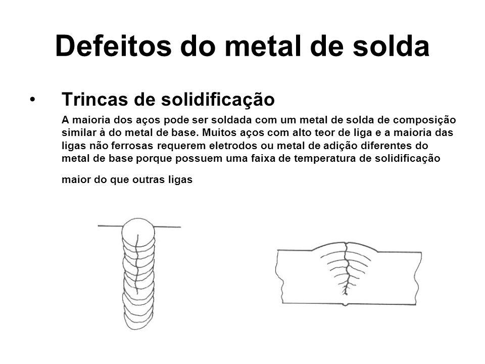 Defeitos do metal de solda Trincas de solidificação A maioria dos aços pode ser soldada com um metal de solda de composição similar à do metal de base