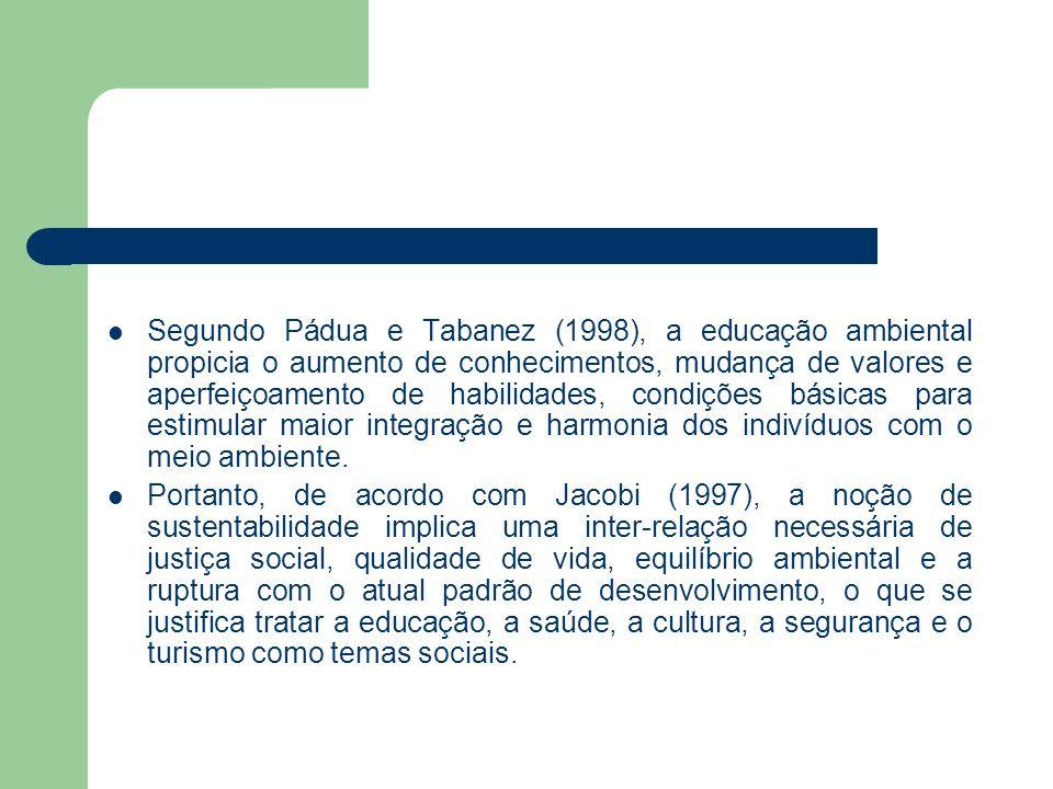 Segundo Pádua e Tabanez (1998), a educação ambiental propicia o aumento de conhecimentos, mudança de valores e aperfeiçoamento de habilidades, condiçõ
