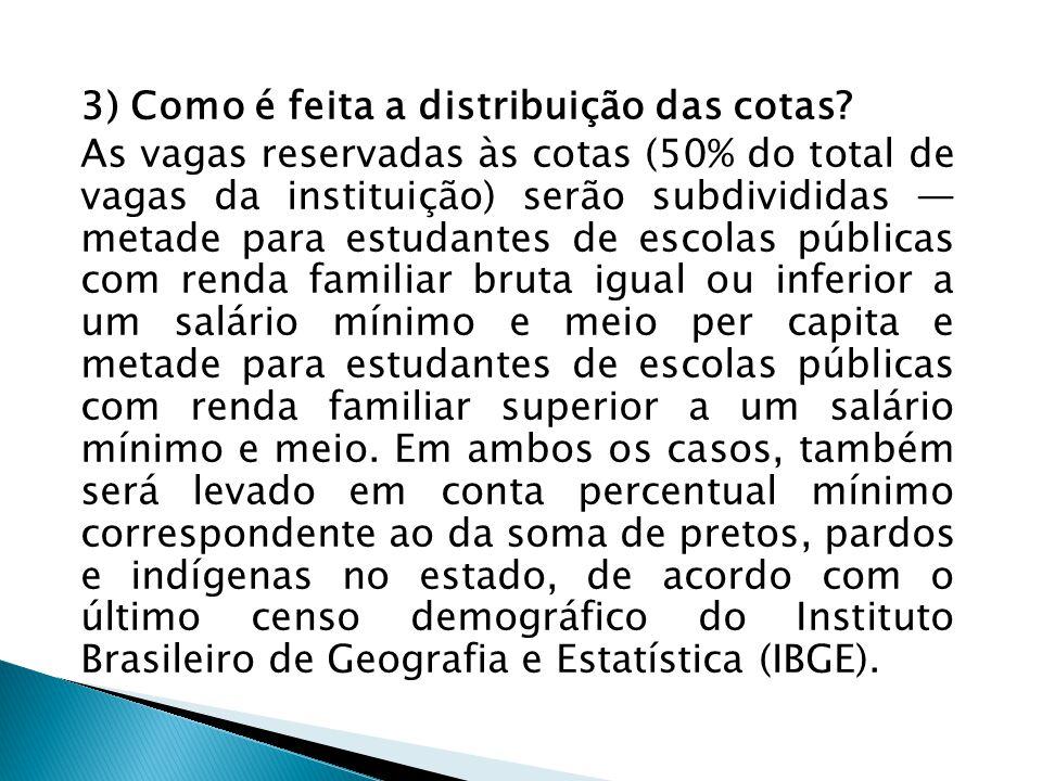 3) Como é feita a distribuição das cotas? As vagas reservadas às cotas (50% do total de vagas da instituição) serão subdivididas — metade para estudan